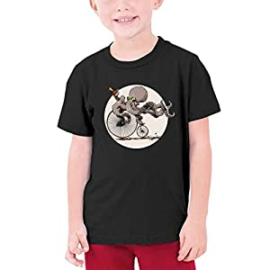 ACFUNEJRQ Bike Tattoos Steampunk Octopus Youths Round Neck Short Sleeve T-Shirts