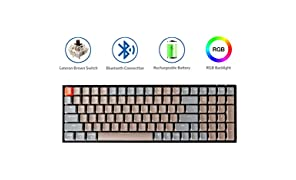 Keychron K4 Mechanical Keyboard, Wireless Mechanical Keyboard with RGB Backlight/Gateron Brown Switch/Wired USB C / 96% Layout, Bluetooth Gaming Keyboard for Mac Windows PC Gamer