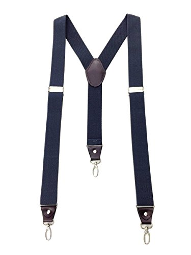Romanlin Mens Suspenders for Work 3 Swivel Hook Clips Y-back Leather Crosspatch for Groomsmen Dark Gray by Romanlin