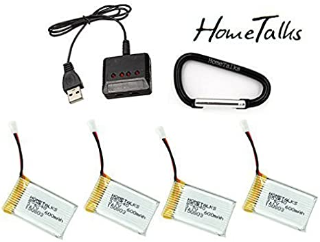 Hometalks® Syma X5c X5c-1 X5sw Quadcopter Rechargeable Lipo Battery (3.7v, 600mah Lipo) and 4-in-1 Max 2.5a Current Input Fast Battery Charger(1pcs)--4pcs Batteries: Amazon.es: Deportes y aire libre