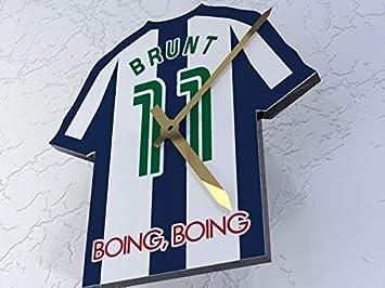 Reloj con forma de camiseta de la Premier League, plástico, West Bromwich Albion FC