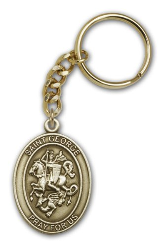 St George Ring (Made in America! Antique Gold St. George Keychain, Great for Men or Women. Catholic Saint George Patron Saint of Boy Scouts, England, Soldiers, Military Men, Farmers.)