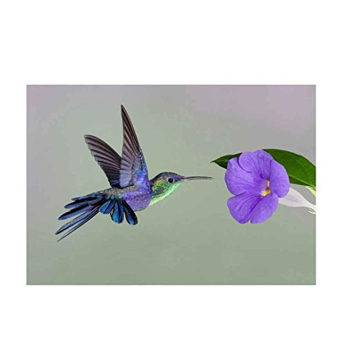 Yeefant Purple Bird Flower Embroidery Paintings No Fading 5D Canvas Rhinestone Pasted DIY Diamond Cross Stitch Home Wall Decor for Bedroom Living Room,12x16 Inch