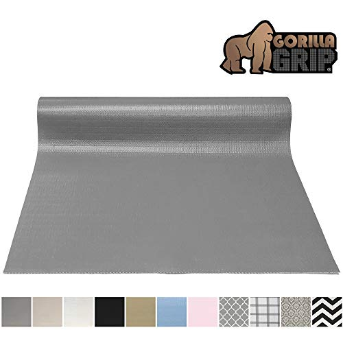 Gorilla Grip Original Smooth Top Slip-Resistant Drawer and Shelf Liner, Non Adhesive Roll, 17.5 Inch x 20 FT, Durable Kitchen Cabinet Shelves Liners for Kitchens Drawers and Desks, Gray (Paper Liner Shelf Drawer &)