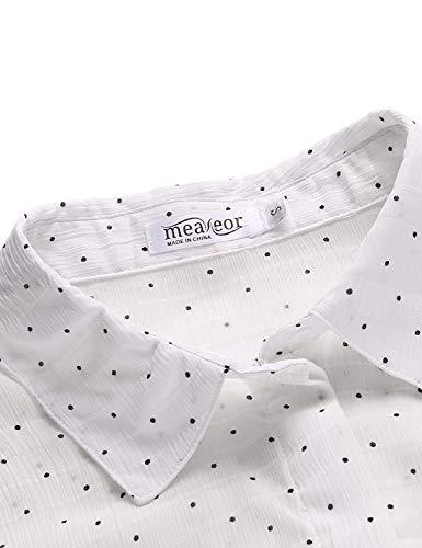 Mince Blouse Polka Costume Longue Chemisiers Shirt Mousseline Haut Elgante Dots Chic Et Chemise Mode Shirts Revers Loisir Printemps Femme Targogo Blanc Manche qawvXfRX
