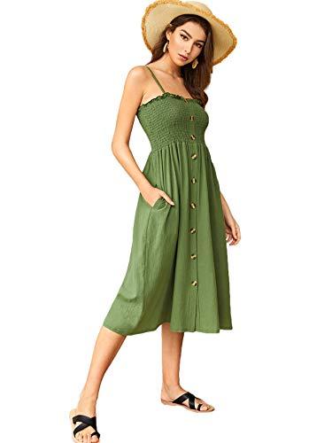 Verdusa Women's Button Front High Waist Shirred Spaghetti Strap Dress Green - Strap Dress Spaghetti Shirred