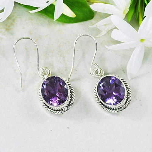 Sivalya 3.00 Ct Oval Natural Purple Amethyst Earrings in 925 Oxidized Sterling Silver, Genuine Gemstone Solid Silver French Hook Dangle Earrings 1.5