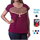 Amvee 2018 Fashion Embroidered Mexican Blouse Authentic Chiapas Handmade Shirt with Short Sleeve/Free Bonus/Size M