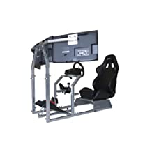 GTR Racing Simulator Seat - GTA-F Model Triple or Single Monitor Stand with Adjustable Leatherette Seat, Racing Simulator Cockpit gaming chair Single Monitor Stand
