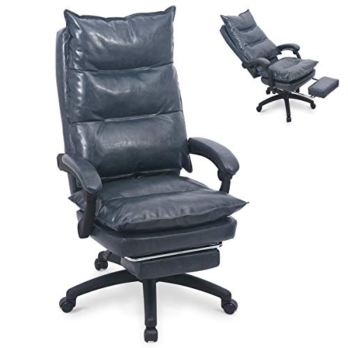 PU Leather Memory Foam Office Chair Ergonomic High Back Desk Chair with Retractable Footrest, Adjustable Angle Recline Lock System,Thick Back and Seat Cushion ()