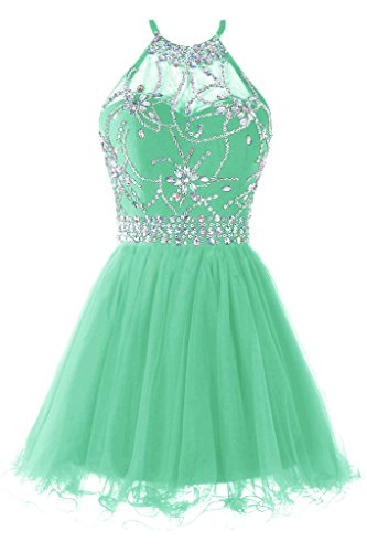 Dress Homecoming Teal (Musever Women's Halter Short Homecoming Dress Beading Tulle Prom Dress Mint US 8)