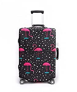 Periea Premium 3mm Elasticated Suitcase Luggage Cover - 38 Different Designs - Small, Medium or Large (Black & Pink with Flamingos, Small)