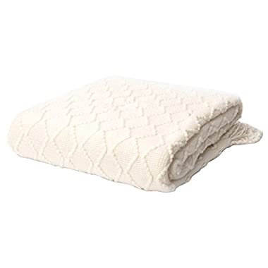 battilo Geometric Pattered Printed Throw Blanket, White