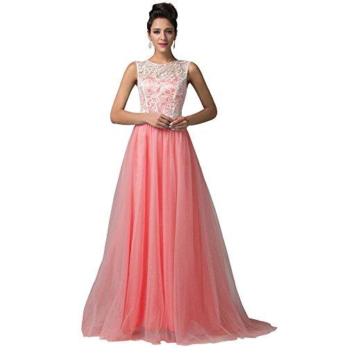 amp;S de La vestido Watermelon Red Vintage mujer Lace Noche elegante de vestido Prom Larga Maxi MEI fiesta w1Aq41