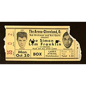 1941 Boxing Ticket Abe Simon v Lem Franklin 10/20 Cleveland Arena 23245