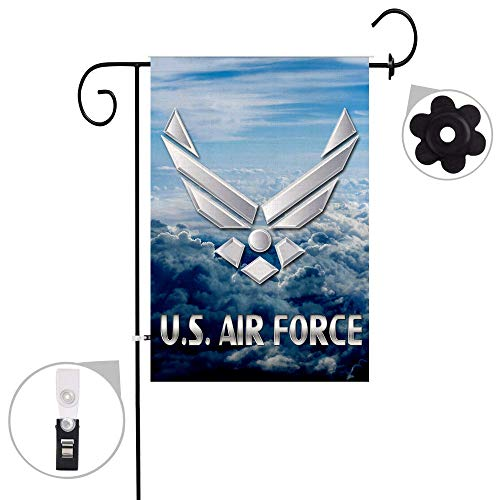 (Bonsai Tree US Air Force Burlap Garden Flag Sets, Decorative Double Sided American Patriotic Flags with a Rubber Stopper Stop and a Anti-Wind)