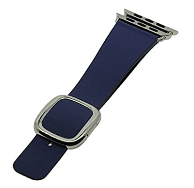 JSGJMY Apple Watch Band 42mm Cuff Leather Loop Original Modern Buckle With Magnetic Clasp Replacement Strap for iwatch Series1 Series2 (Midnight Blue+Sliver Buckle, 42mm L)