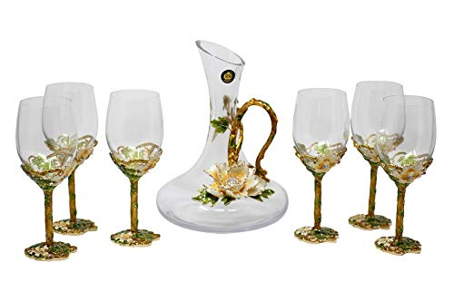 RORO Inspired Enameled and Jeweled Bohemian Crystal Wine Goblets Glasses with Jug Water Set, Wedding Gift, Luxury Home Accessories