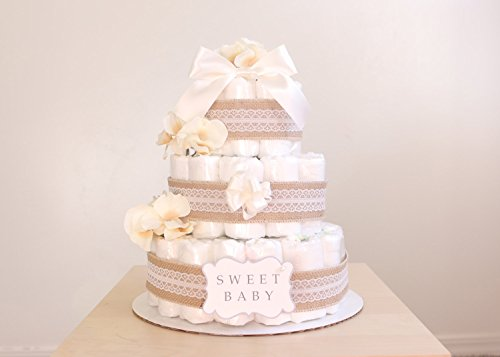 3 Tier Natural Lacey Burlap Diaper Cake / Baby Shower Centerpiece / Baby Shower Centerpiece / Flower Elegant Princess / decoration / gender natural ()