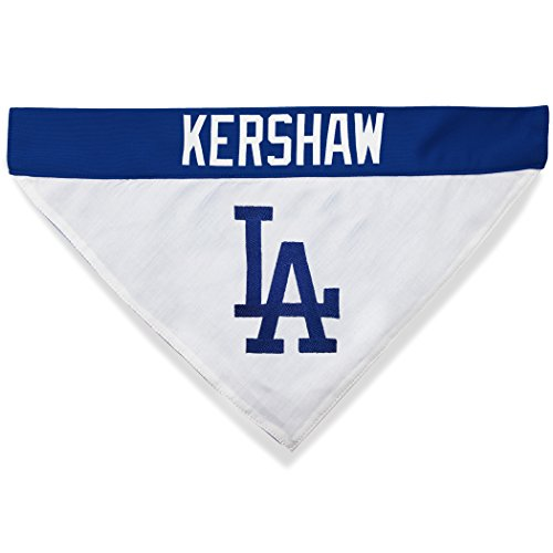 MLBPA Reversible Dog Bandana - Clayton Kershaw #22 Pet Bandana - MLB Los Angeles Dodgers Home & Away Bandanna, Large/X-Large ()