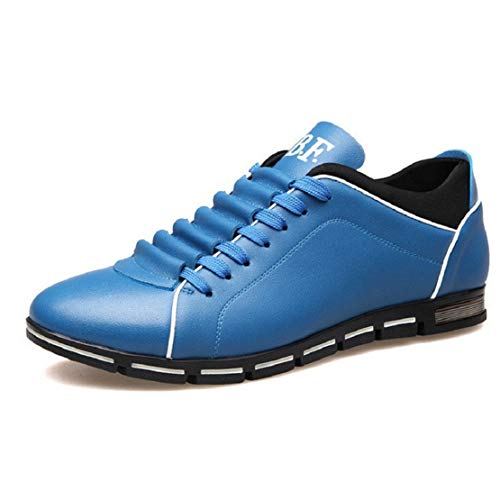 siness Casual Shoes Casual Faux Leather Shoes Lace Up Flat Sneakers by Lowprofile Sky Blue ()