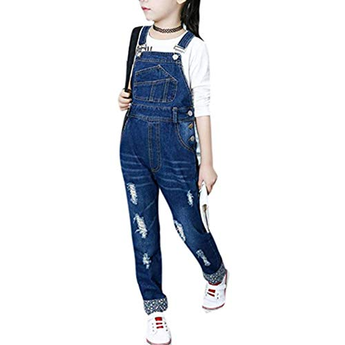 Digirlsor Kids Girls Adjustable Strap Dark Blue Long Jeans Jumpsuit Suspender Denim Bib Overalls,3-12Y (11-12 Years/ Tag160, Ripped Dark Blue) (Rip Overalls)