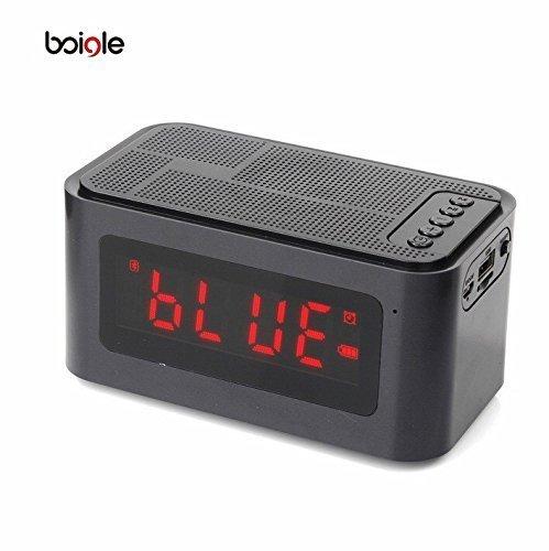 ShopSmartLife Portable S61 Wireless Bluetooth 4.0 Speaker with Time Display Alarm Clock Handsfree Call Support TF Card IPX5 Waterproof (BLACK) (Radio Free Shack Radio Hands)
