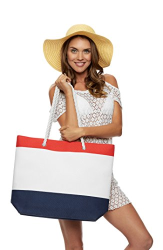 Comfy Robes Personalized Nautical Beach Tote Bag, Red/Navy (Monogram Beach Towel)