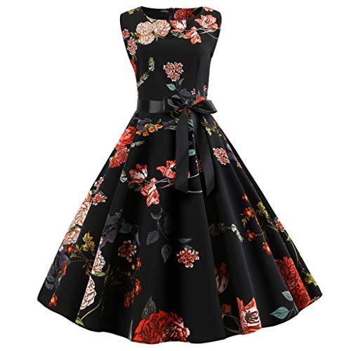 Keliay Bargain Women's Vintage Sleeveless Print Casual Evening Party Prom Swing Dress