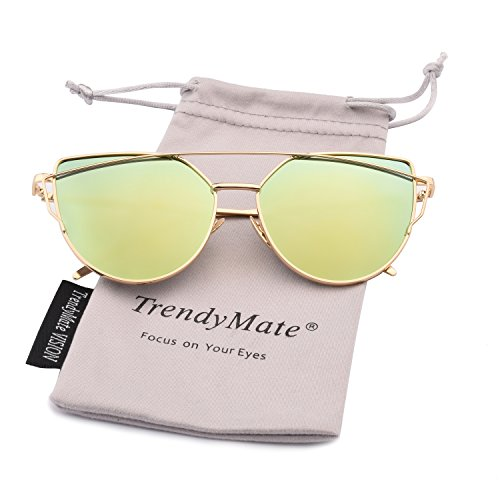 TrendyMate-Womens Street Fashion Metal Twin Beam Flat Mirror Lens Cat Eye Sunglasses … (Gold / Gold, - Sunglasses Mirror Lens Gold