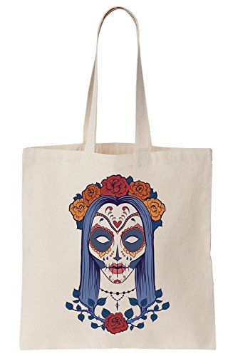 Beautiful Halloween Girl Drawing With Sugar Skull Style Face Paint Canvas Tote Bag