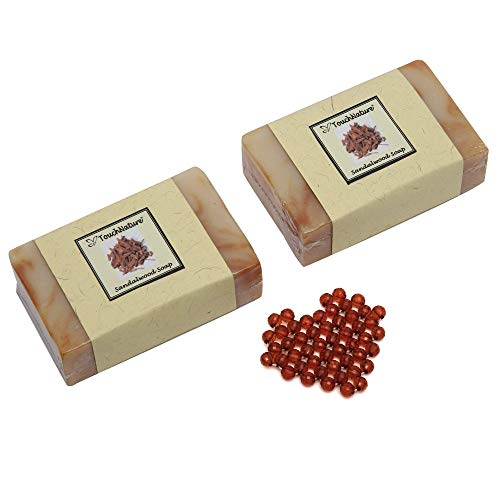 Touch Nature 2 pc 100g Sandalwood Handmade & Natural Soap with beaded soap drainer. Sandalwood Bar & Castile Soap with Tumeric. No Parabens. Anti-Aging. Tumeric. Perfect Gift for Men and Women.