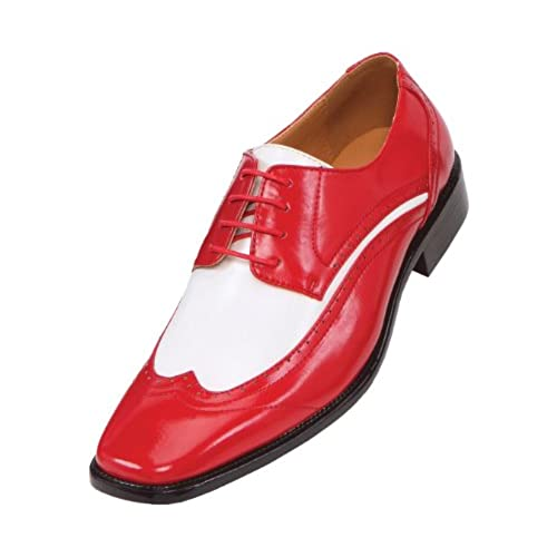 0690d885149fb hot sale Amali Mens Two-Tone Red and White Wingtip Oxford Dress Shoe ...