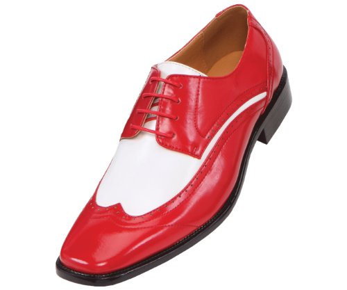 Amali Mens Two-Tone Red and White Wingtip Oxford Dress Sh...