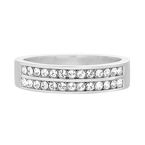 - Devin Rose Double Row Channel Set Band Ring for Women in Rhodium Plated Brass Made with Swarovski Crystals (White, Size 7)