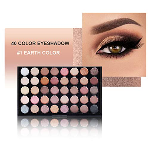 40 Colors Eyeshadow Palette Shimmer, Everfavor Highly Pigmented Eye Shadow Palettes Natural Baked Eyeshadow Makeup Palett