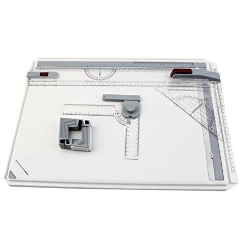 Kinshops Mesa de Tablero de Dibujo A3 portatil con Movimiento Paralelo Ángulo Ajustable Ponente de Arte Pintura Herramientas de Dibujo Paleta, Transparente