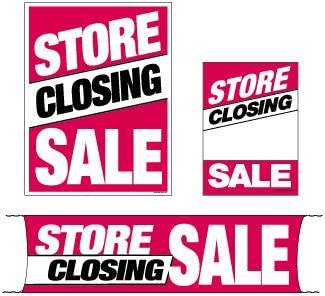 Retail Business Store Signs Advertising Flooring /& Seasonal 3 Sizes to Choose from Mini - 4 Piece Sign Kit MKTSCS 4 Piece KitStore Closing Sale Furniture