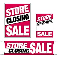 """MKTSCS 4 Piece Kit""""Store Closing Sale"""" (3 Sizes to Choose from) Furniture, Flooring & Seasonal – Retail Business Store Signs Advertising (Mini – 4 Piece Sign Kit)"""