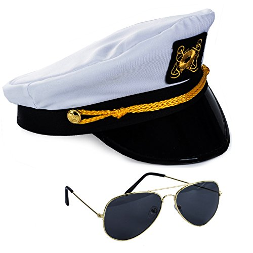 Tigerdoe Yacht Captain Hat with Aviator Sunglasses Sailor Costume by (Sea Adult Hat Captain)
