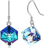 CAT EYE JEWELS 925 Sterling Silver Colorful Swarovski Crystals Earrings Dangle Drop Earrings for Women Girls C