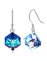 CAT EYE JEWELS 925 Sterling Silver Colorful Swarovski Crystals Earrings Dangle Drop Earrings for Women Girls Christmas Anniversary Gifts