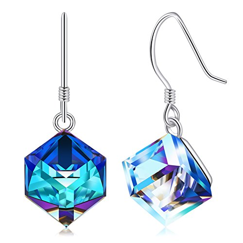 Swarovski Earrings, Sterling Silver Blue Crystals Drop Dangle Earrings for Women Color Changing Diamond -