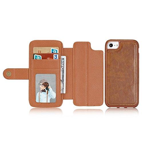 cuir fentes étui iPhone Color et Flip photo pour de cuir titulaire et 6 Fashion cadre cartes amp; en horizontale Pour protection des amp; portefeuille 6 PU simple Brown blue Texture s avec Dark et 4tOzAR