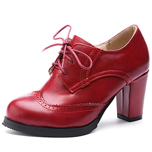 Odema Womens PU Leather Oxfords Brogue Wingtip Lace Up Dress Shoes Chunky High Heels Pumps Oxfords Red