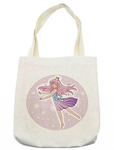 Princess Circle Handbag - Lunarable Princess Tote Bag, Faerie Backdrop Circle with Dancing Queen Ballerina Character Tender Dreamy, Cloth Linen Reusable Bag for Shopping Groceries Books Beach Travel & More, Cream