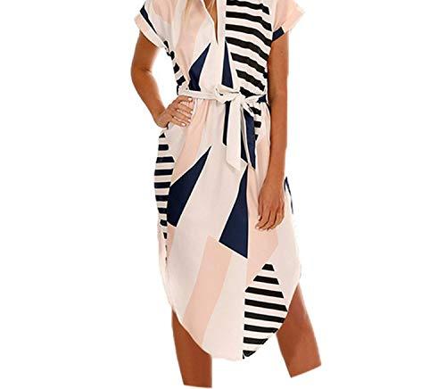 (Women Party Dresses Print Summer Boho Beach Dress Loose Batwing Sleeve Dress,White3,L)