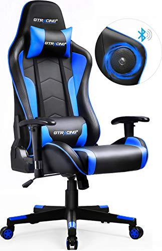 - GTRACING Gaming Chair with Bluetooth Speakers Music Video Game Chair Audio Heavy Duty【1 Year Warranty】 Computer Desk Chair GT890M Blue