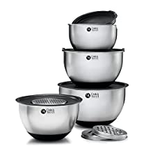 13 Piece Stainless Steel Mixing Bowl Set - 5 Sizes including Extra Large - Nesting Design with Rubber Grip base - 5 Sealable Lids & 3 Grating attachments.