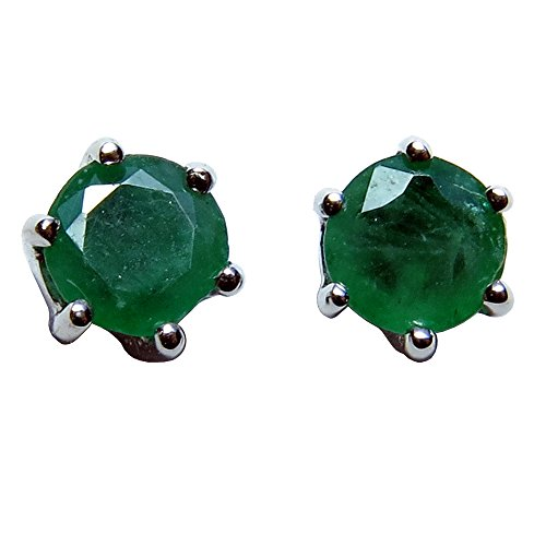 14k-Gold-Round-Prong-Set-Genuine-Emerald-Stud-Earrings